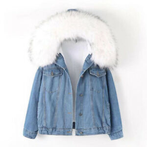 disponibilità nel Regno Unito prezzo ufficiale immagini ufficiali Donna Fodera Pile Sherpa Giacca di Jeans Larga Goccia Spalla ...