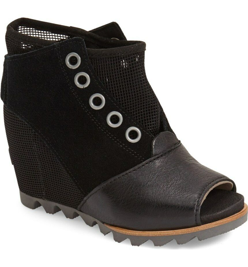 Sorel Joanie Mesh Suede Leather Open Toe Wedge Bootie Boots Wedges, 10.5