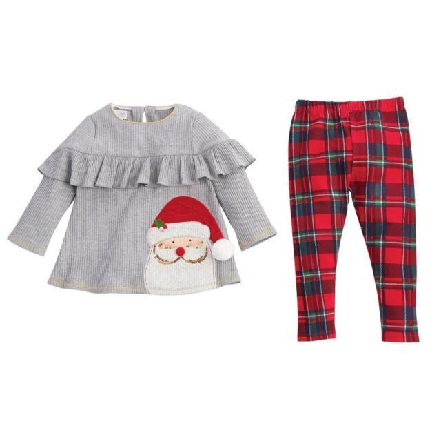 Christmas Pajamas Girls 2-Pc Top and Pants Ruffles Christmas Tree Applique  New