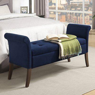 Upholstered End Of Bed Storage Bench Bedroom Furniture Seat Blue S   eBay
