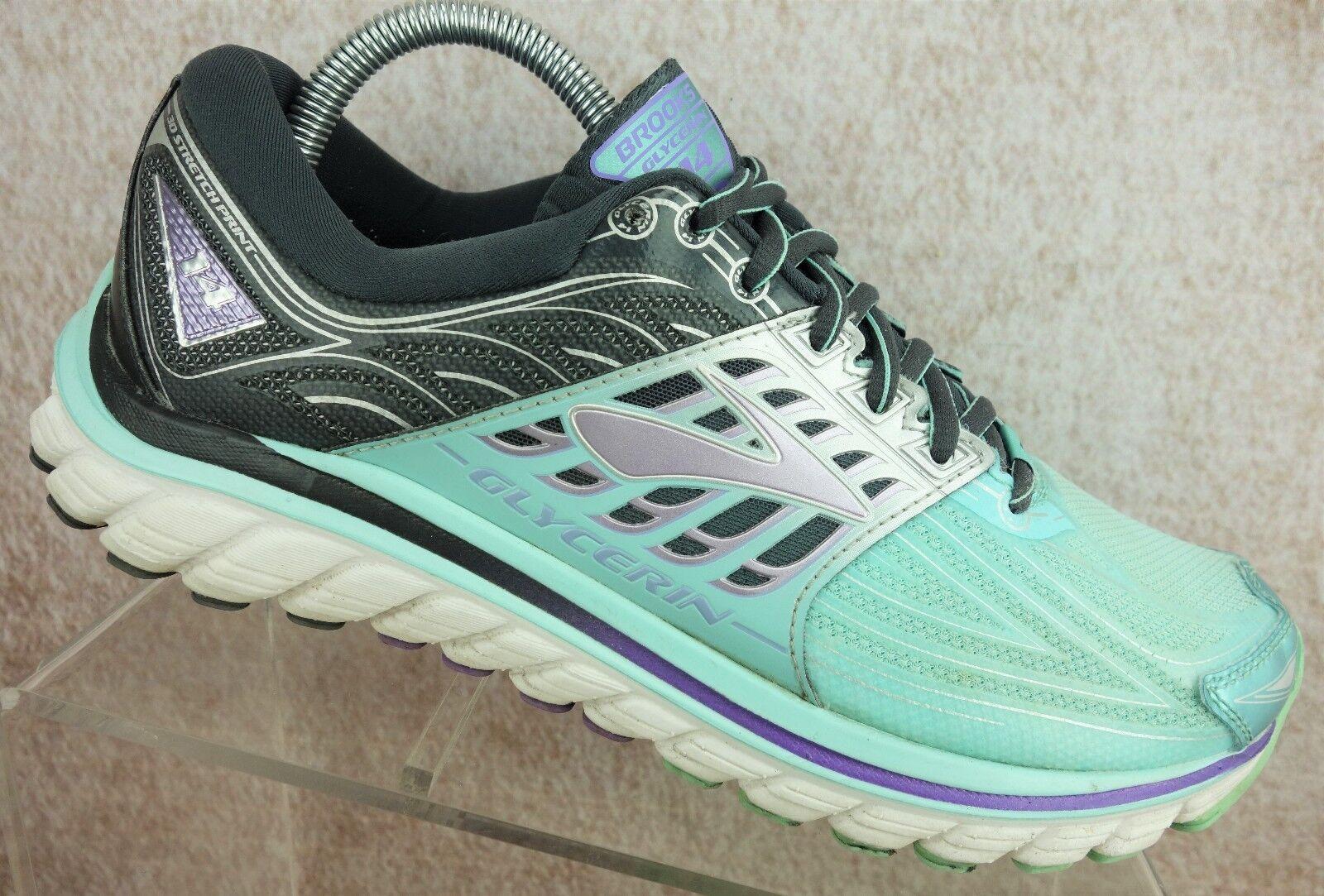 Brooks Glycerin 14 Gray Teal Nylon Running Athletic Sneaker Shoes Womens 9.5 B