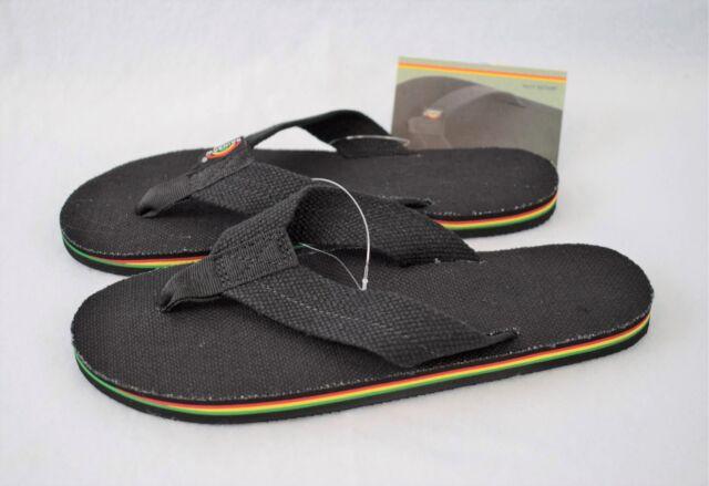 de29f6e11d3957 Women s Size 10 RAINBOW Single Layer BLACK Hemp w  RASTA Mid Sole Flip Flops