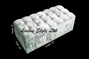 Cube Style Ottoman In Crushed Velvet Pouffe Storage Box
