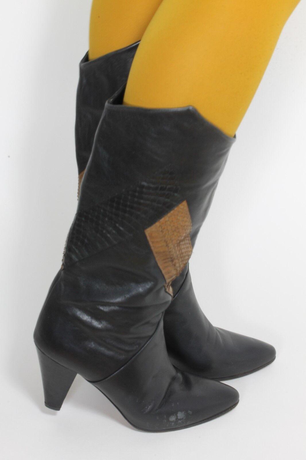Señora botas vintage botas óptica reptil geométricamente tacón alto  39