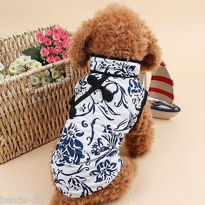 BD Puppy Dog Pet blue and white porcelain Dress Clothing Supplies Linen Robe XXL