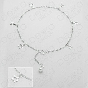 Genuine-925-Sterling-Silver-Stars-With-Chain-amp-Ball-Anklet-Women-Girls
