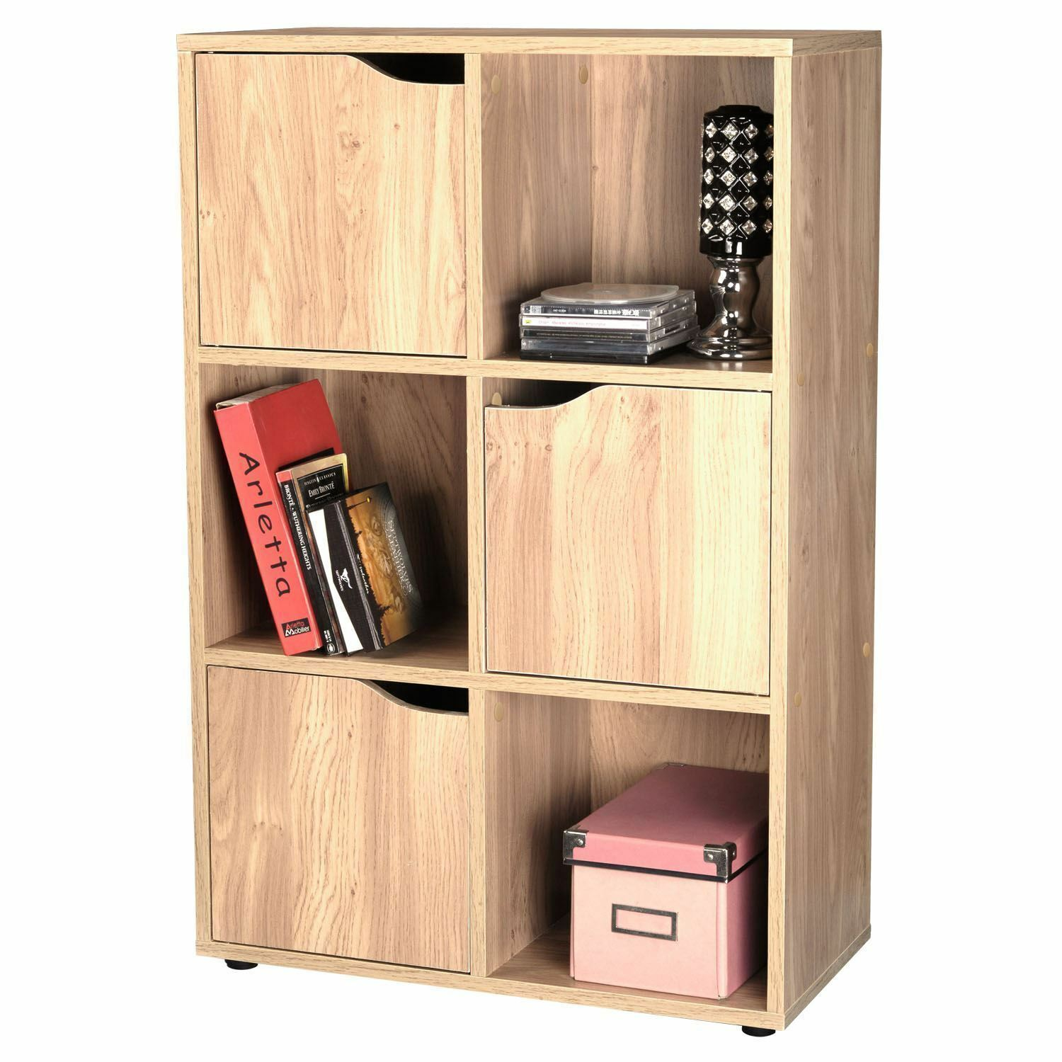 shelving unit with doors oak effect wooden storage unit display shelving bookcase 26051