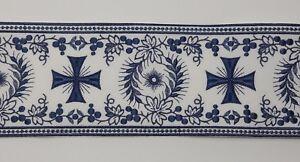 Orphrey-Vintage-Croce-Blu-su-Bianco-Casula-Bendaggio-11-4cm-Larghezza-0-9m-C-263