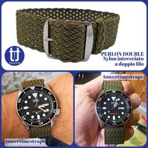 Cinturino per orologio VINTAGE Nato PERLON DOUBLE MILITARE in nylon intrecciato