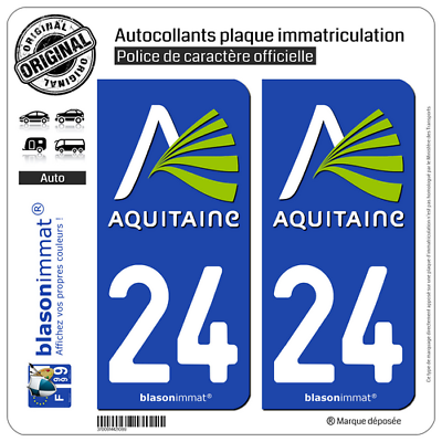 2019 Fashion 2 Stickers Autocollants Plaque D'immatriculation Auto Nostalgie High Quality 24 Aquitaine