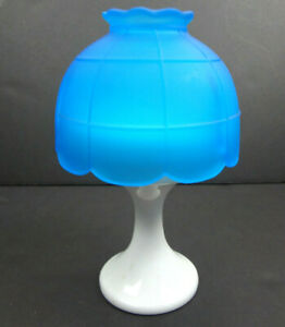 Westmoreland-Unmarked-Milk-Glass-Pedestal-Satin-Blue-Shade-Fairy-Lamp