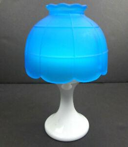 Westmoreland-Unmarked-Milk-Glass-Pedestal-Satin-Blue-Shade-Fairy-Lamp