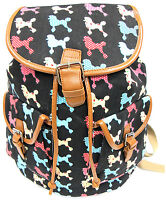 16 Dog Print Canvas Backpack Comfort Padded Strap - Lovely Cute Poodle $14.99