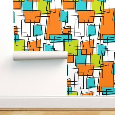 Removable Water-Activated Wallpaper Diamond Mid Century Modern Teal Lime 50S