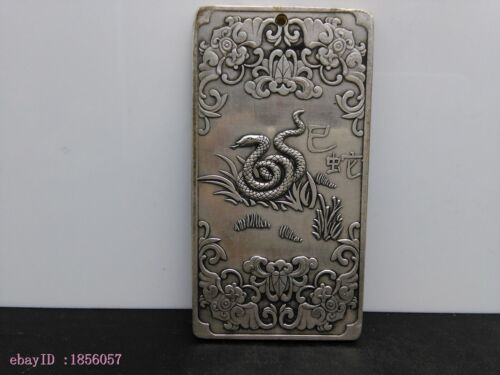 Chinese collectible silver-plated copper carved the zodiac snake amulet