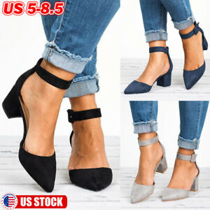 Women-Suede-Low-Block-Heel-Ankle-Strap-Sandals-Ladies-Casual-Pointed-Toe-Shoes