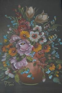 Lovely Early 20Th Century Wild Flowers  Still Life  Oil on Board Signed A. Toni