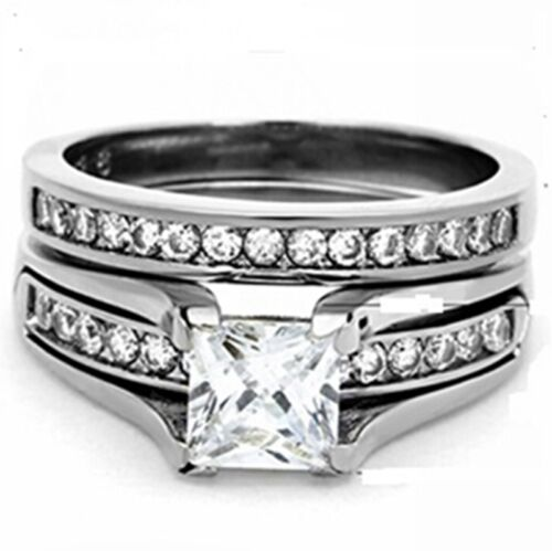 Taille 4-12 Coupe de princesse rhodium Bague de Mariage Bande Set Fiançailles Mariage Halo maman