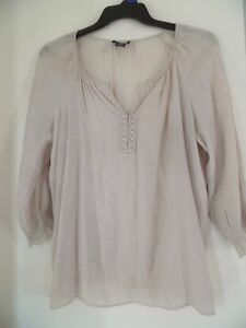 78b77198045 SPENSE Peasant Top Blouse Tunic Shirt Crochet Trim Boho Beige Sz L ...