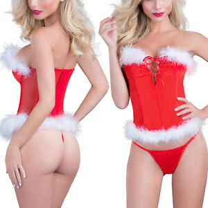3bd158cafb4 Sexy Women s Christmas Red Lingerie Underwear Fancy Dress Costume ...