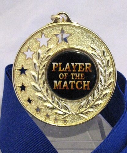 """Player of the Match"" Bright Gold Large 70mm Medal Engraved Ribbon FREE"