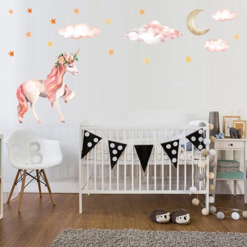 Cute Unicorns Moon Cloud Wall Stickers Nordic Style Room Decor DIY Wall Decal~EL
