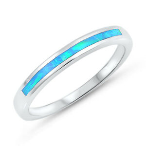 Opal Wedding Band.Details About Blue Lab Opal Wedding Ring 925 Sterling Silver Thin Band Sizes 4 10 New