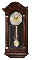 Seiko Wall Pendulum Clock Dark Brown Solid Oak Case With Hand-rubbed Finish,