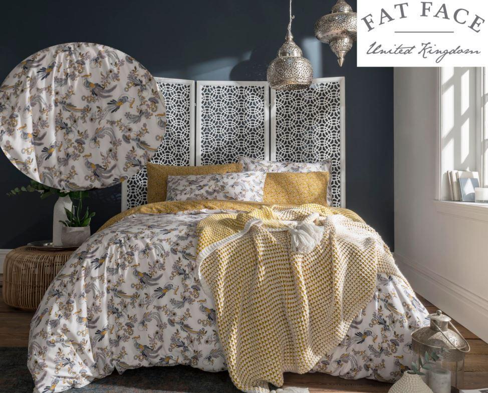 Fat Face Oriental Bird 100% Cotton 180 Thread Count Reversable Duvet Set