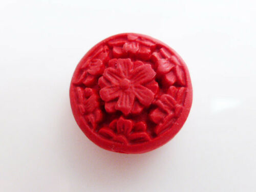 OBT16 5 x Carved Red Cinnabar Faux Lacquerware Flower Coin Beads 21mm Round