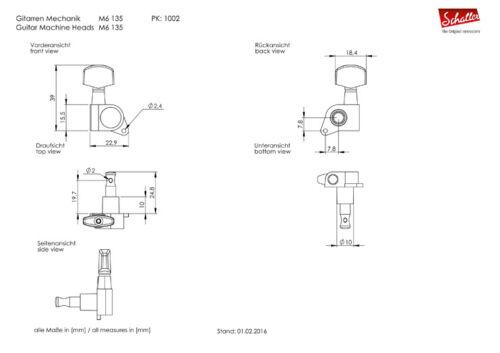 Genuine Schaller M6 135 3+3 Nickel 10020123.02.36