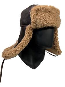 ae4647840af Jakewood Men s Winter Antique Brown Aviator Trapper Sheepskin Hat ...