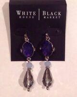 White House Black Market Blue Beaded Silvertone 2 Linear Earrings-$35-nwt