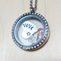 Quality Custom Name Floating Charms Birthstone Locket Stainless Steel Necklace