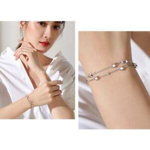 Damen-Armband-Armkette-Doppelarmband-925-Silber-Stern-Kugel-Rund-Neu