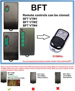 BFT VTM1- VTM2- VTM4 Universal Remote Control Duplicator 4-Channel 315 MHz.-afficher le titre d`origine ABk1Iikw-07141252-271386904