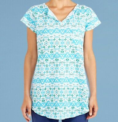 FRESH PRODUCE Medium Moonlight Blue $65.00 PAISLEY Dockside HENLEY Top NWT New M