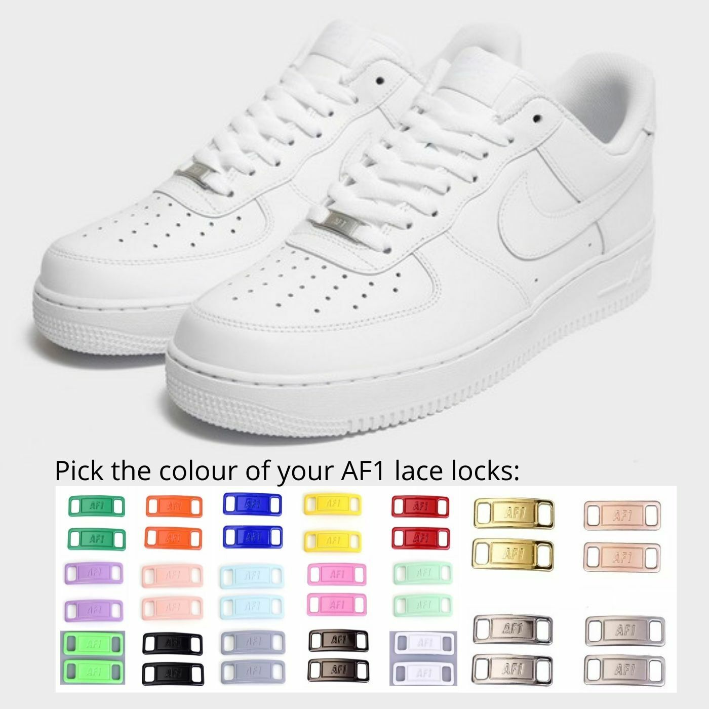 Nike Air Force 1 '07 Triple White *Pick from 20+ Lace Lock Colours* All sizes