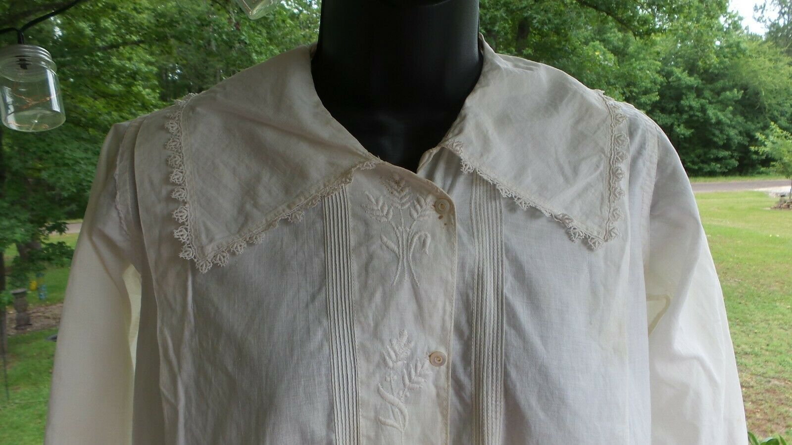 ANTIQUE! Hand STITCHED Women's BLOUSE With LACE C… - image 2