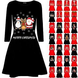 Womens-Ladies-Candystick-Elf-Long-Sleeve-Christmas-Xmas-Flared-Swing-Mini-Dress