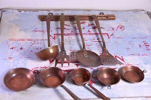 Sensible Vintage Cuivre Cuisine Jouets-cuivre Ustensiles Et Kitchenwares-doll House Objet-afficher Le Titre D'origine