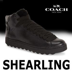 MEN-039-S-COACH-SHEARLING-SNEAKER-FUR-AUSTRALIA-LEATHER-BLACK-G1249-MSRP-295-10-5