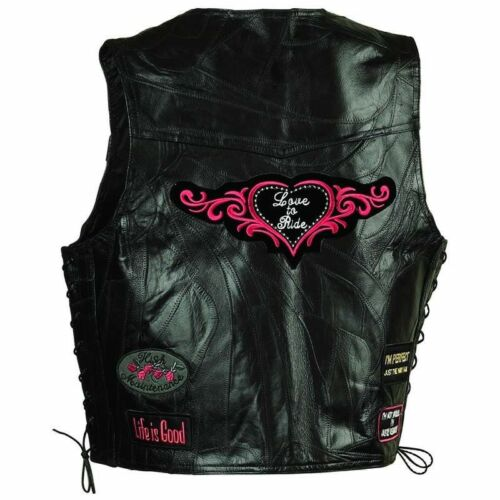 Motorcycle Ladies Vest Leather Love to Ride Biker New Side Lacing Black w Pink