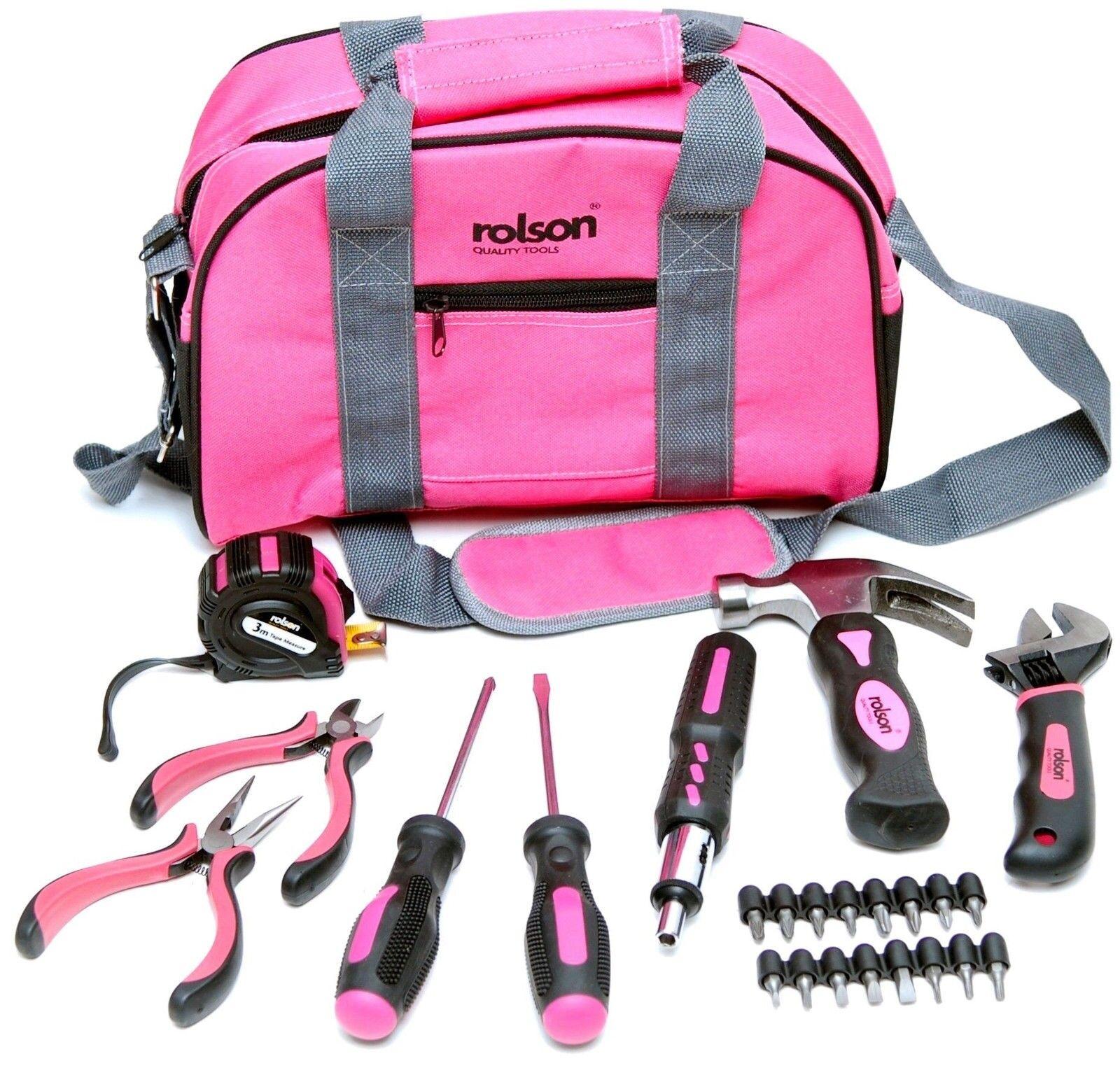 Rolson 36802 25pc 25pc 25pc rosado Bolsa De Herramientas Kit b7da94