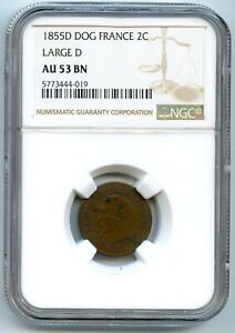Napoleon III 2 Cents 1855 D Lyon Anchor / Lion NGC IN The 53 Bn