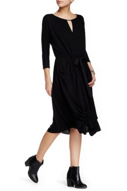 Free People Easy Squeezy Linen Blend Dropped-Waist Knit Dress Medium Black