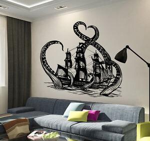 Image Is Loading Vinyl Wall Decal Octopus Kraken Ship Nautical Ocean