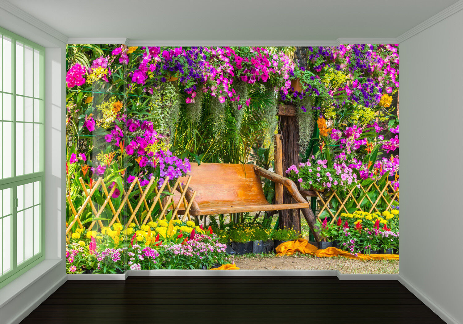 3D Farbeful flowers Plant chair Wall Paper Wall Print Decal Wall AJ WALLPAPER CA