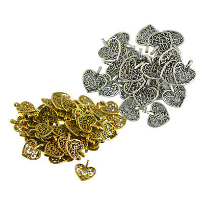 100 Pieces Tree Leaf Filigree Hollow Pendant DIY Jewelry Findings Crafts