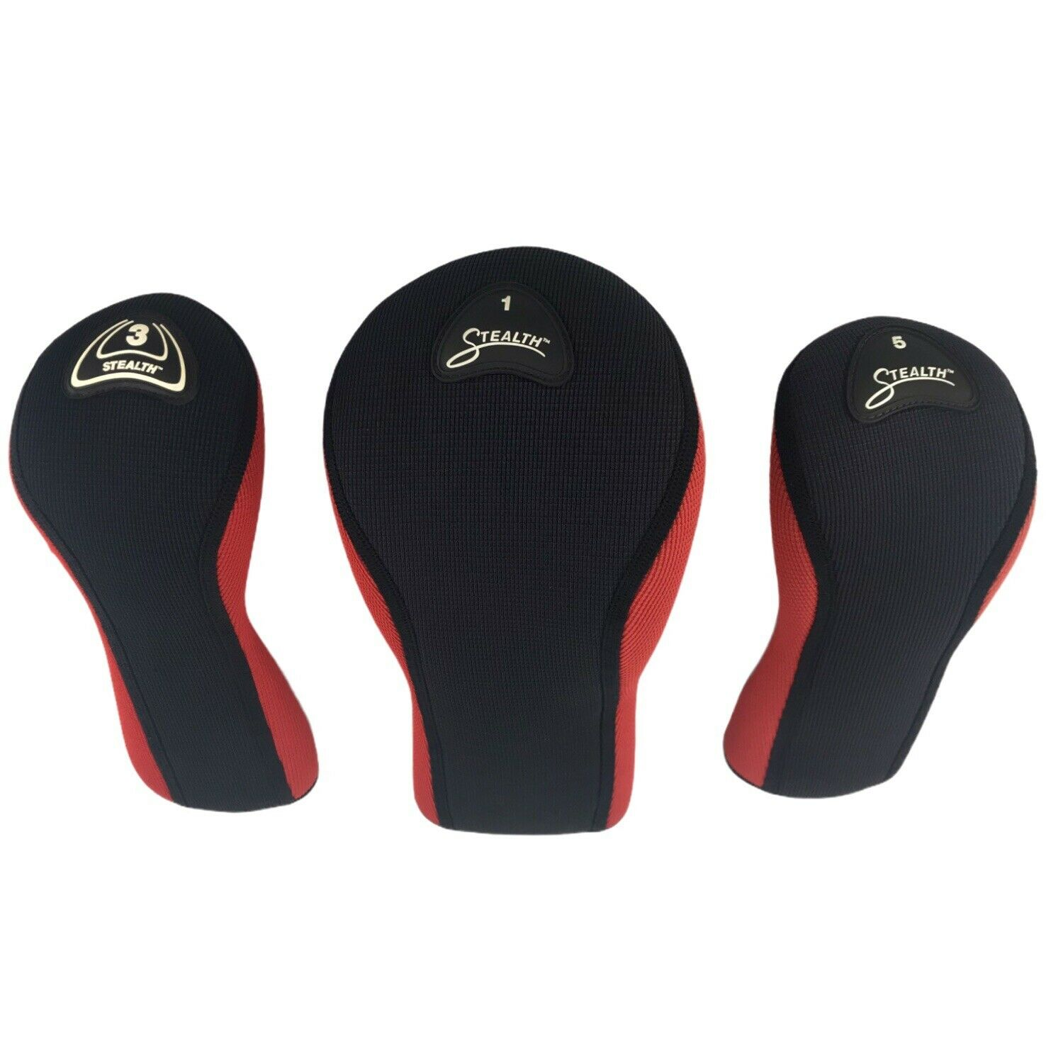 Stealth Set Lot of 3 Head Covers Stretch Material Red & Black